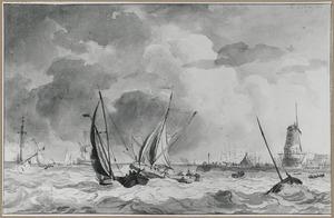 Storm op zee met schipbreuk bij een havenstad met windmolen