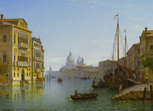 Het Canal Grande met uitzicht op Santa Maria della Salute te Venetië