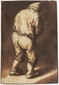 Staande boer, gezien op de rug