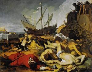 Theageners en Chariclea temidden van de vermoorde rovers