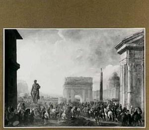 Gezicht op een Romeinse stad met een triomftocht