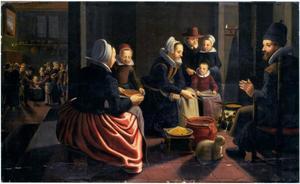 Een familie bij de haard; pannekoeken bakken