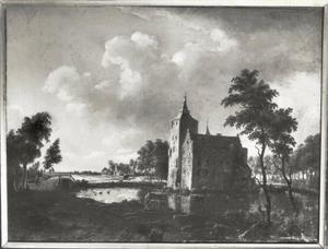 Landschap met gezicht op de Ridderhofstad Den Ham te Vleuten