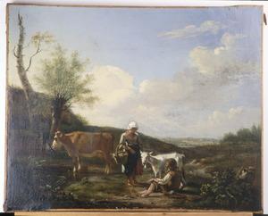 Landschap met boerin, herdersjongen en vee