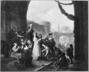 David, na het verslaan van Goliath, begroet door de dochters van Jerusalem  (1 Samuel 18: 6)