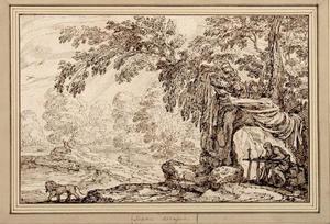 Boomrijk rivierlandschap met de heilige Hieronymus en de leeuw
