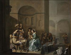Wachtkamerscene met kaartspelers en plunderaars