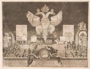 Vuurwerk in Moskou op 1 januari 1704 ter gelegenheid van de verovering van het Zweedse fort Nyenskans