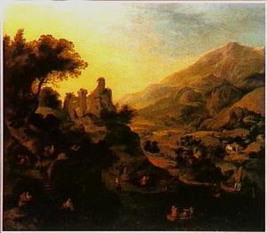 Rijnlandschap met ruïne op bergtop