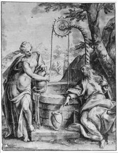 Christus en de Samaritaanse vrouw bij de waterput (Johannes 4:1-27)