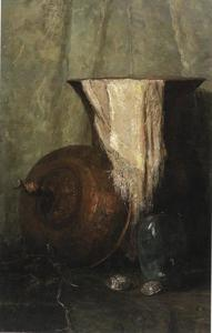 Stilleven met vazen en doek