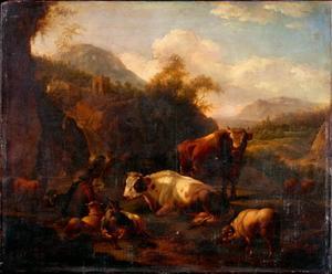 Landschap met een herder, koeien, schapen en een geit