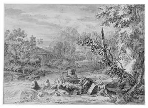 Berglandschap met twee figuren bij brokstukken van een ruïne aan de waterkant