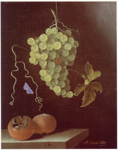 Stilleven met hangende druiventros, twee mispels en een blauwtje