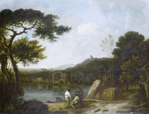 Landschap met het Lago di Averno, met in de verte de Apollo-tempel