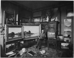 Julius Jacobus van de Sande Bakhuyzen in zijn atelier aan de Huygensstraat 19, Den Haag