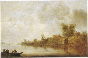 Rivierlandschap met vissersboot op de voorgrond