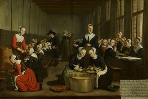 Het verstrekken van de maaltijd aan weesmeisjes van de Amsterdamse Hervormde Diaconie, uitgebeeld als een der zeven werken van barmhartigheid: het spijzigen der hongerigen