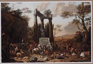 Zuidelijk landschap met veel figuren bij een klassieke ruïne en een standbeeld