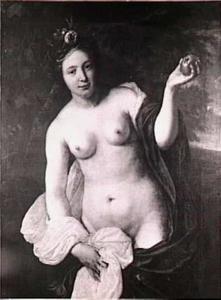 Portret van een vrouw als Venus met Parisappel
