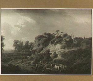 Landschap met heuvel, herders en vee