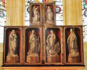 De annunciatie (buitenzijde bovenluiken); De HH. Anna en Catharina (buitenzijde linkerluik); De HH. Margaretha en Martinus (buitenzijde rechterluik)