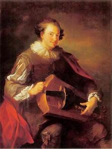Portret van een man met een draailier