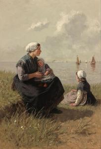 Vissersvrouw met kinderen op een duin