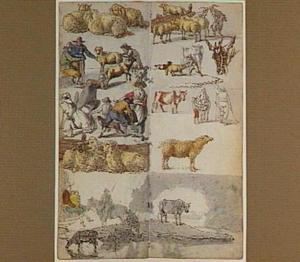 Studies van groepjes vee en figuren