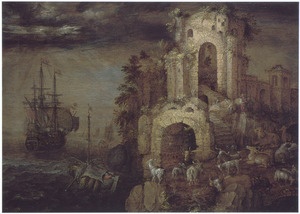 Kustlandschap met boeren en vee bij een ruïne en een fregat op zee onder een donkere hemel
