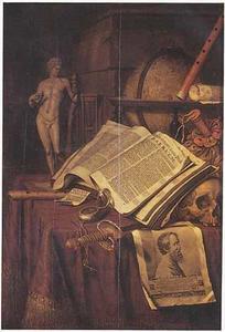 Vanitasstilleven met opengeslagen boek, stokbeurs en beeldje op een gedekte tafel