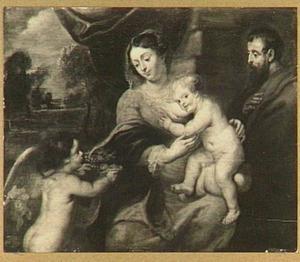 Heilige familie met links een putto die een mand met vruchten aanbiedt
