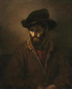 Halffiguur van een man met baard en hoed