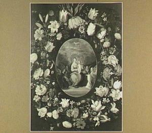 Bloemenkrans rond een medaillon van Madonna met de engelen