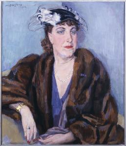 Portret van een dame in bontmantel