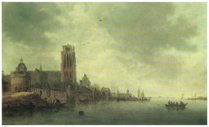 Rivierlandschap met gezicht op Dordrecht vanuit het noorden