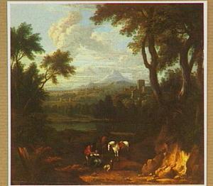 Zuidelijk heuvellandschap met rustende ruiters, op de achtergrond een meer en een stad