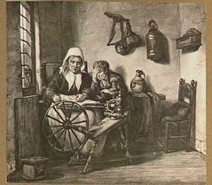 Oude vrouw die een jongen voorleest uit de bijbel