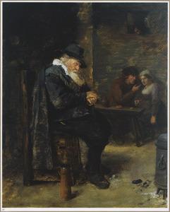Herberginterieur met een slapende oude man en een minnekozend paar