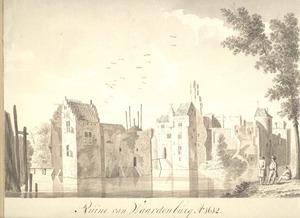 De ruïne van kasteel Waardenburg aan de Waal, gezien vanuit het zuidwesten