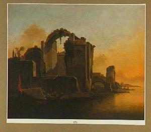 Zuidelijk landschap met ruïne bij zonsondergang