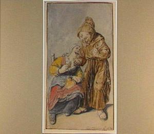 Staande monnik met pijp en zittende, drinkende vrouw