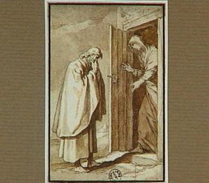 De heremiet Pior Scithiota verbergd zijn gezicht in gebed, zijn zuster staat voor de deur