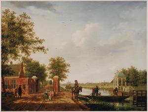 De Haarlemmerweg naar het tolhek bij Sloterdijk gezien met rechts de Haarlemmervaart