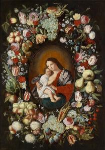 Bloemen- en vruchtenkrans rond een ovaal met daarin een Madonna met Christus