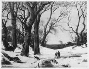 Sneeuwlandschap met wandelaars
