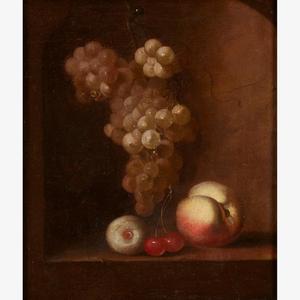 Fruitstilleven met druiventros en kersen in een nis
