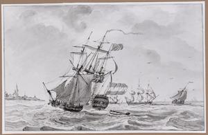 Een Hollands en een Engels zeilschip en andere vaartuigen voor een kust