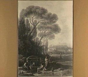 Zuidelijk parklandschap met vrouwen bij een fontein