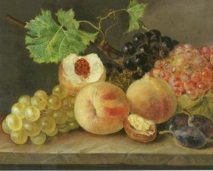 Vruchtenstilleven van periken en druiven